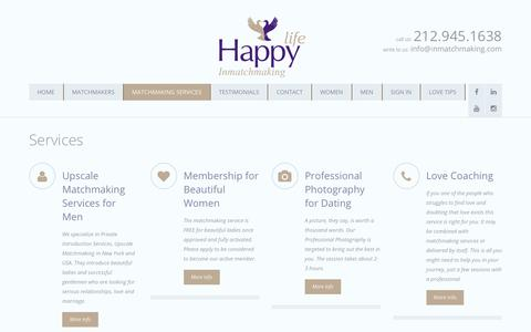 Screenshot of Services Page inmatchmaking.com - Services   Professional Matchmaker NYC   Matchmaking Services NYC   INMatchMaking® - captured Oct. 1, 2018