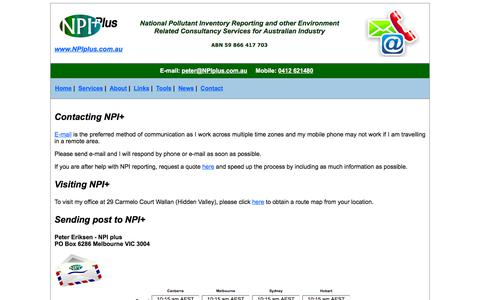 Screenshot of Contact Page npiplus.com.au - Contact NPIplus - captured Sept. 21, 2018