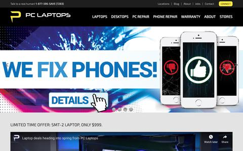 Screenshot of Home Page pclaptops.com - PC Laptops | Desktop & Laptop Computers, PC Repair, Cell Phone Repair - captured April 17, 2019