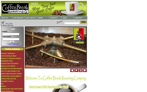Screenshot of Home Page coffeebreakroasting.com - Coffee Break Roasting Company - captured Oct. 2, 2014