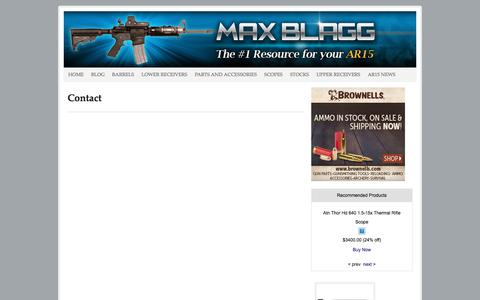 Screenshot of Contact Page maxblagg.net - Contact Max Blagg AR15 riffle resource team for your inquiries - captured March 2, 2018