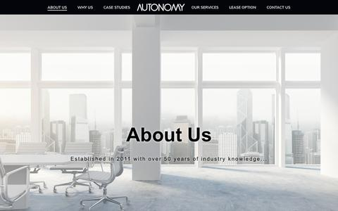 Screenshot of About Page autonomyworkspace.com - About Autonomy Workspace | Office Fit Out and Finance | - captured Oct. 4, 2018