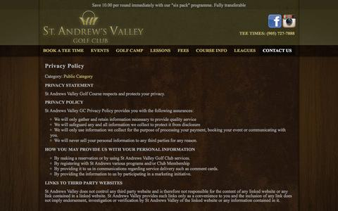 Screenshot of Privacy Page standrewsvalley.com - Privacy Policy - St. Andrew's Valley Golf Club - captured Dec. 16, 2016