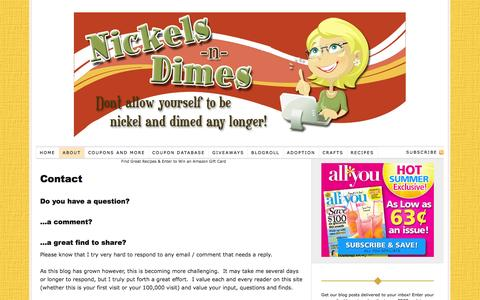 Screenshot of Contact Page nickels-n-dimes.com - Contact Nickels-n-Dimes Nickels-n-Dimes   Save Money   Free Kindle Books   Coupons   Magazine Deals   Grocery Store Deals   Free Christian Fiction Books - captured Sept. 23, 2014