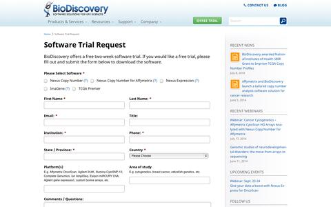 Screenshot of Trial Page biodiscovery.com - Software Trial Request - BioDiscovery - Copy Number Variation - captured Sept. 30, 2014