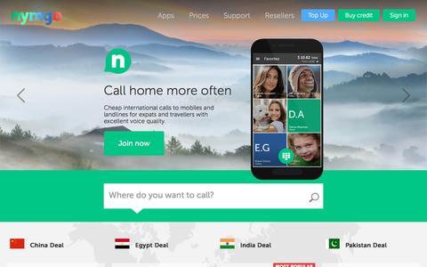 Screenshot of Home Page nymgo.com - Nymgo | Cheap International Calls - captured Dec. 6, 2016