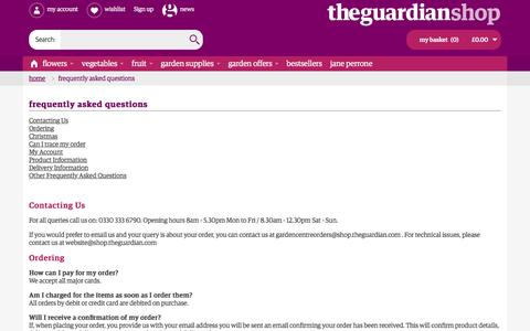 Screenshot of FAQ Page theguardian.com - Frequently Asked Questions - captured Aug. 28, 2016