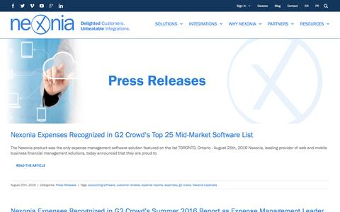 Screenshot of Press Page nexonia.com - Press Releases | Nexonia - captured Nov. 17, 2016