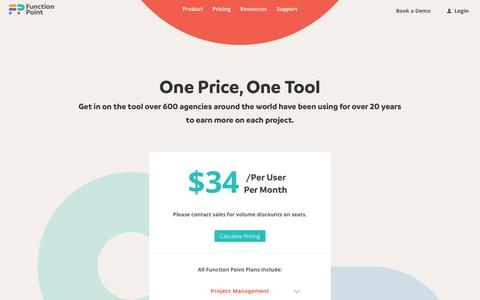 Screenshot of Pricing Page functionpoint.com - Pricing | Project Management Tools | Function Point Software - captured April 1, 2017