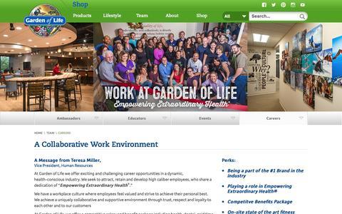 Screenshot of Jobs Page gardenoflife.com - Careers | Garden of Life - captured July 11, 2016