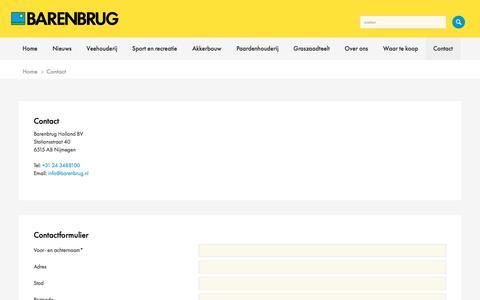 Screenshot of Contact Page barenbrug.nl - Contact - captured Oct. 10, 2017