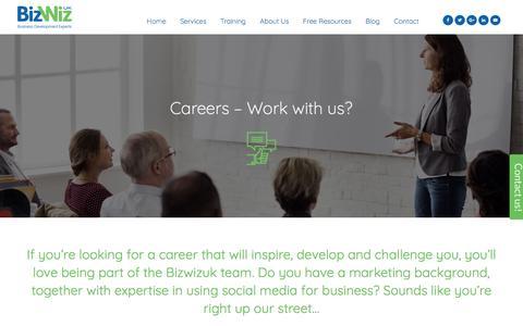 Screenshot of Jobs Page bizwizuk.co.uk - Careers - Work with us? - BizWizUK - Business Development Experts - captured June 1, 2017