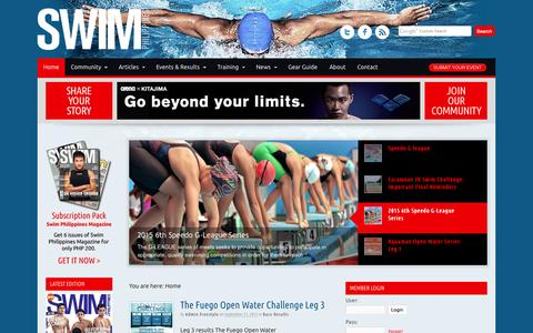 Screenshot of Home Page swim.ph - Swim Philippines - swimming, triathlon and aquathlon events in the Philippines - captured Sept. 22, 2015