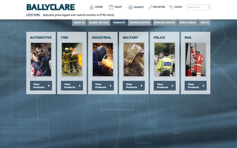 Screenshot of Products Page ballyclarelimited.com - Ballyclare Limited - captured Sept. 30, 2014