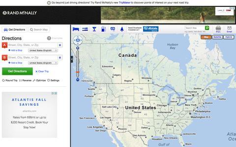 Screenshot of Maps & Directions Page randmcnally.com - Rand McNally Driving Directions and Maps - captured Sept. 22, 2014