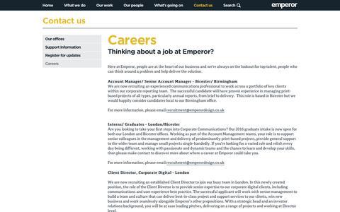 Screenshot of Jobs Page emperordesign.co.uk - Careers   Contact us   Emperor - captured July 7, 2016