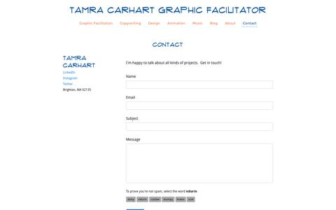 Screenshot of Contact Page tamracarhart.com - Contact - Tamra Carhart Graphic Facilitator - captured Oct. 24, 2016