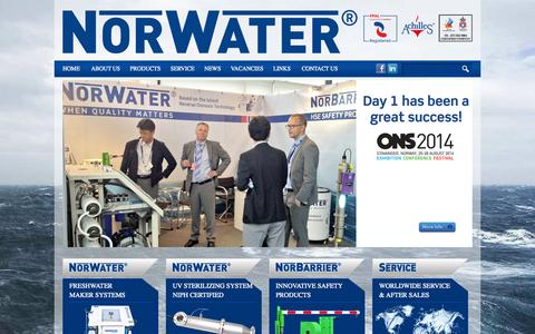 Screenshot of Home Page norwater.no - Norwater AS - Worldwide supplier of potable water maker systems - captured Oct. 7, 2014