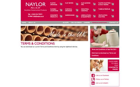 Screenshot of Terms Page naylor.co.uk - Terms and Conditions | Naylor - captured Oct. 6, 2014