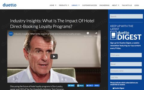 Screenshot of Pricing Page duettocloud.com - Industry Insights: What is the impact of hotel direct-booking loyalty programs? - captured Jan. 6, 2020