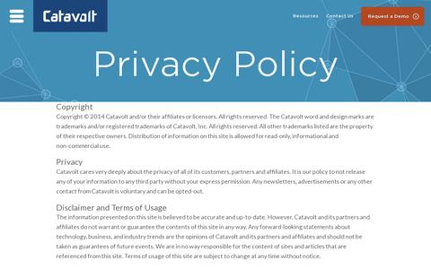 Screenshot of Privacy Page catavolt.com - Privacy Policy - captured July 19, 2014