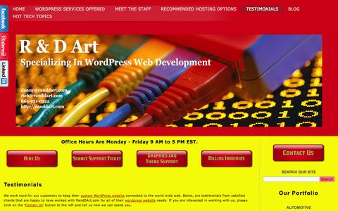 Screenshot of Testimonials Page randdart.com - Testimonials | R and D Art - captured Sept. 23, 2014