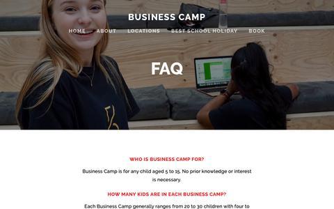 Screenshot of FAQ Page businesscamp.com.au - FAQ — Business Camp - captured Oct. 22, 2018