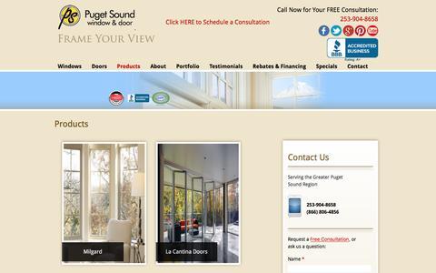 Screenshot of Products Page pugetsoundwindow.com - Quality Window & Door Products - Puget Sound Window & Door - captured Nov. 13, 2016