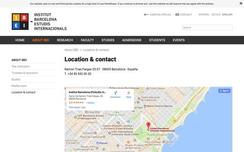 Screenshot of Contact Page ibei.org - Location & contact | Institut Barcelona d'Estudis Internacionals (IBEI) - captured July 11, 2017