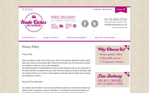 Screenshot of Privacy Page nudecakes.co.uk - Privacy Policy | Finest Handmade Fruit & Sponge Cakes To Decorate | Nude Cakes - captured Oct. 7, 2014