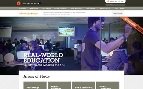 Screenshot of Home Page fullsail.edu - Full Sail University: Campus and Online Degrees - captured Dec. 6, 2015