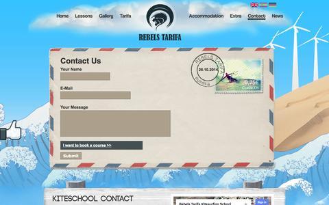 Screenshot of Contact Page rebelstarifa.com - Rebels Tarifa Kitesurfing school | Kiteschool contact - captured Oct. 26, 2014