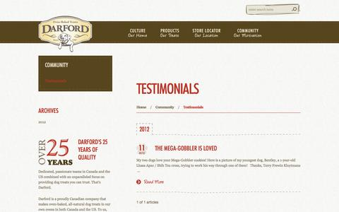 Screenshot of Testimonials Page darford.com - Testimonials | Darford Pet Food - captured Oct. 5, 2014