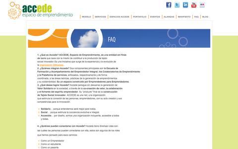 Screenshot of FAQ Page accede.net - Faq :Accede – Espacio de emprendimiento - captured Oct. 4, 2014