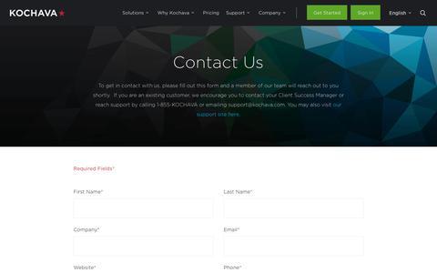 Screenshot of Contact Page kochava.com - Contact Kochava | We Would Love to Help - captured Oct. 16, 2019