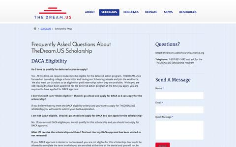 Screenshot of FAQ Page thedream.us - TheDream.US Scholarship - captured Oct. 4, 2014