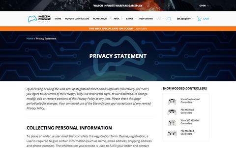 Screenshot of Privacy Page megamodzplanet.com - Privacy Statement | Megamodzplanet.com - captured Oct. 18, 2017