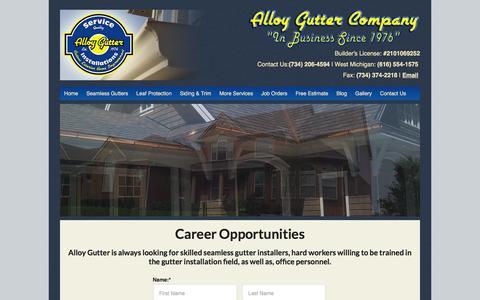 Screenshot of Jobs Page alloygutter.com - Career Opportunities — Michigan Gutter Manufacturer and Installation - captured Feb. 5, 2016