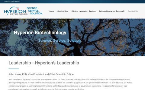 Screenshot of Team Page hyperionbiotechnology.com - Leadership - captured Sept. 30, 2018