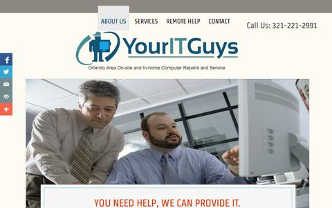 Screenshot of Home Page youritguys.biz - About Us - captured Oct. 7, 2014