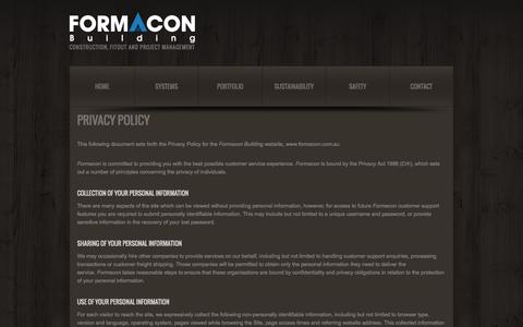 Screenshot of Privacy Page formacon.com.au - Privacy Policy  |  Formacon - captured Oct. 6, 2014