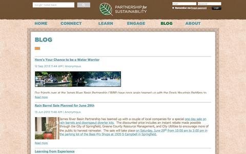 Screenshot of Blog greenozarks.org - Partnership for Sustainability - Blog - captured Oct. 1, 2014