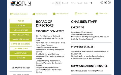 Screenshot of About Page joplincc.com - About - Joplin Area Chamber of Commerce - captured Feb. 18, 2018