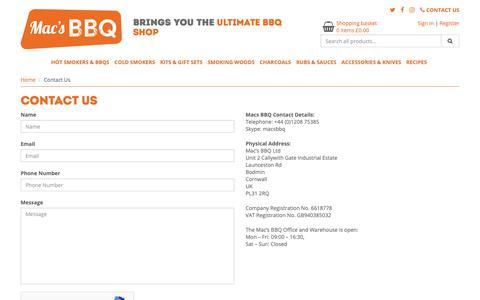 Screenshot of Contact Page macsbbq.com - Contact Us - Macs BBQ - captured Oct. 1, 2018