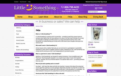 Screenshot of FAQ Page littlesomething.com - FAQs - captured Oct. 2, 2014