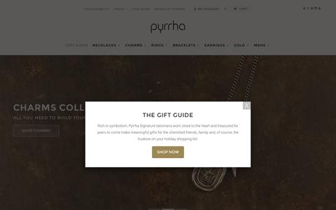 Screenshot of Home Page pyrrha.com - Pyrrha | Symbolic Talisman Jewelry - captured Dec. 3, 2015