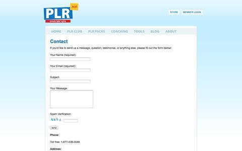 Screenshot of Contact Page plr.me - Contact | PLR.me - captured Sept. 24, 2014