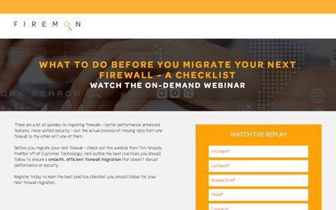 Screenshot of Landing Page firemon.com - What to Do Before You Migrate Your Next Firewall – A Checklist - captured Oct. 14, 2016