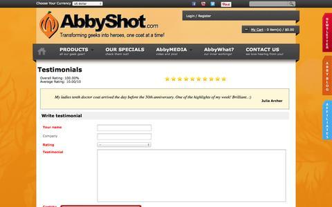 Screenshot of Testimonials Page abbyshot.com - AbbyShot Clothiers - Movie Clothing | Cosplay Costumes - captured Oct. 4, 2014