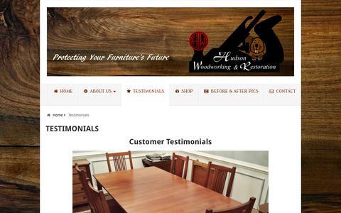 Screenshot of Testimonials Page hudsonwoodworking.com - Hudson Woodworking And Restoration Testimonials - captured Sept. 29, 2018